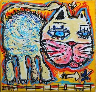 Cats Acrylic Painting by Sylvain Dez Title: yellow cat, created in 2011