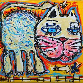 Sylvain Dez Artwork yellow cat, 2011 Acrylic Painting, Cats