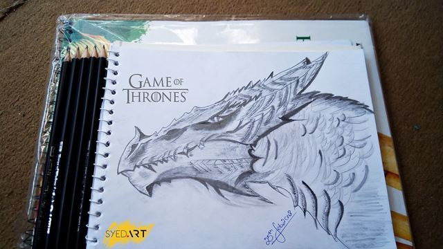 Syed Waqas  Saghir  'Game Of Thrones Dragon', created in 2018, Original Drawing Charcoal.