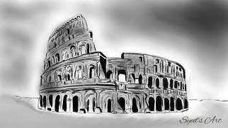 Syed Waqas  Saghir: 'rome digital sketch', 2018 Charcoal Drawing, History. Artist Description: Rome Colosseum Digital Sketch Powered by Syed Art...