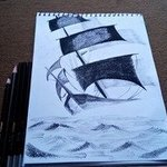 Sailing Ship Charcoal Sketch, Syed Waqas  Saghir