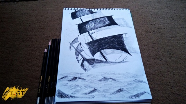 Syed Waqas  Saghir  'Sailing Ship Charcoal Sketch', created in 2018, Original Drawing Charcoal.