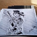 Warrior Charcoal Pencil Sketch, Syed Waqas  Saghir