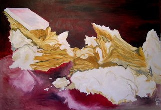 Sylvie Proidl: 'Left Bed', 2009 Oil Painting, Erotic.  A piece of a creamy dessert looks like a left bed after a hot night. ...