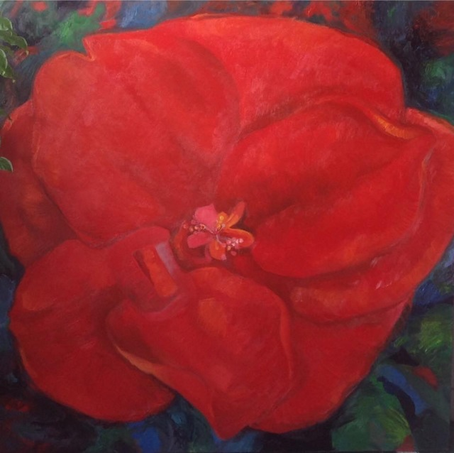 Takai Shiou  'Red Flower', created in 2017, Original Painting Oil.