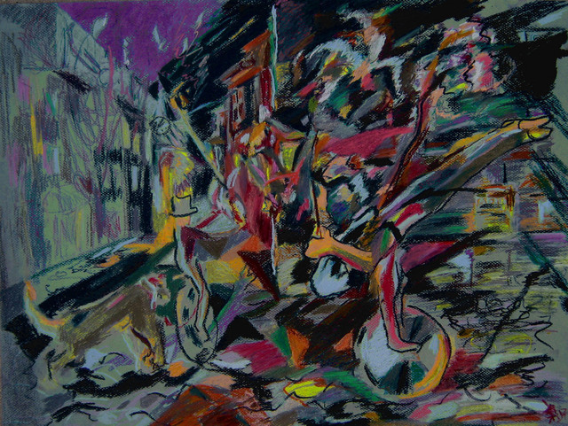 Tadeush Zhakhovskyy  'Circus In The Town', created in 2007, Original Pastel.