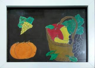 Taha Alhashim: 'Fruit 2009', 2009 Other Painting, Food. Artist Description:  This painting was made in 2009. It is a set of fruit some are inside a basket and the other are not. The wallpaper is a dark brown, and overall it was painted by watercolor and pencil. ...