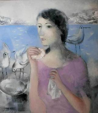 Stanislav Zvolsky: 'Morning', 2008 Oil Painting, Beauty. Artist Description:  oil, painting, DSeagulls, the sea, a breakfast, the young girl, morning, portrait,    ...