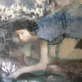 Stanislav Zvolsky: 'Princess frog', 2008 Oil Painting, Figurative. Artist Description:  The princess, frog, the girl, a pond, lilies, oil, canvas,     ...