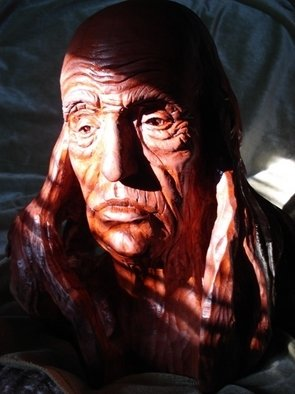 Wood Sculpture by Tosic Aleksandar titled: old man, 2011