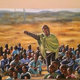 Piet Mashita Artwork Marikana Hill, 2015 Oil Painting, Political