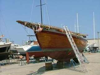 Markus Kruse: 'latest sailboat', 2007 Color Photograph, Marine. Artist Description:  latest sailboat 45 foot wooden purchased in norfolk, virginia. has arrived back in granville on the marine transport truck. . . took a 50 ton crane to lift it off the truck. . . chaching!  ...