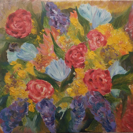 Tamara Black: 'bouquet', 2016 Oil Painting, Floral. Artist Description: Flowers. Modern ArtSignedUnframed...