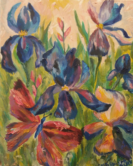 Tamara Black  'Irises', created in 2016, Original Painting Oil.