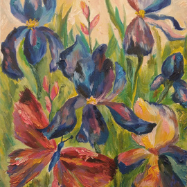 Tamara Black: 'irises', 2016 Oil Painting, Floral. Artist Description: Flowers, IrisesSIgnedUnframed...