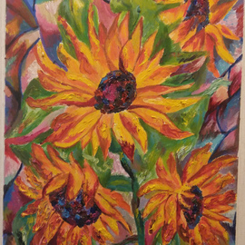 Tamara Black: 'sunflowers', 2017 Oil Painting, Floral. Artist Description: Flowers, Nature, SunflowerSIgnedUnframed...