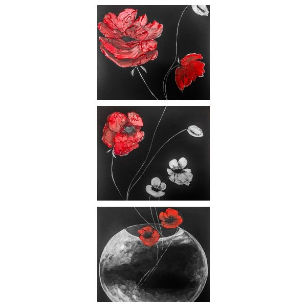 Alina  Tanase: 'poppy', 2017 Acrylic Painting, Floral. Artist Description: red, white, poppy, acrilyc, 3D, black, canvas, 3, panels, each panel is 50x50 cm. Ready to hang...