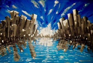 Alina  Tanase: 'skyscrapers', 2017 Acrylic Painting, Abstract. Artist Description: Skyscrapers, skyline, water, urban, hights, buildings, ...