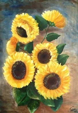Alina  Tanase: 'sunflowers', 2017 Oil Painting, Floral. Artist Description: sunflowers, flowers, summer, yellow, nature, floral...