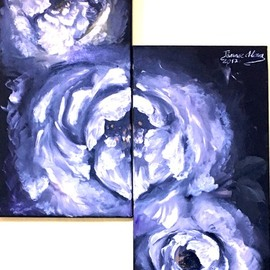 Alina  Tanase: 'white roses', 2017 Oil Painting, Floral. Artist Description: white, rose, black, canvas, original, direct from the artist, 2 panels, each panel is 35x80cm, redy to hang...
