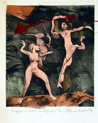 Roberto Andreev: 'An execution of myth', 1992 Lithograph, Figurative. Artist Description:  classic medium on a Bavarian stone ...