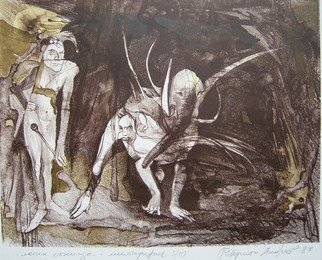 Roberto Andreev: 'Bad dreams', 1987 Lithograph, Figurative. Artist Description:    classic medium on a Bavarian stone   ...