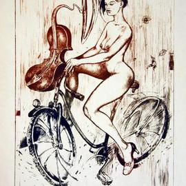 Roberto Andreev Artwork Musical girl with bicycle, 2009 Etching, Figurative