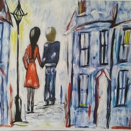 Tanya Martin: 'just good friends', 2018 Acrylic Painting, People. Artist Description: Colourful art streetscape...