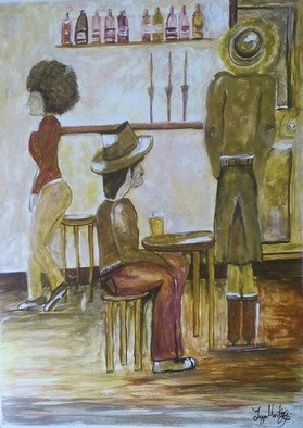 Tanya Martin: 'me myself and a nice cold beer', 2018 Acrylic Painting, People. Artist Description: This is a fine art pub scene painting. ...
