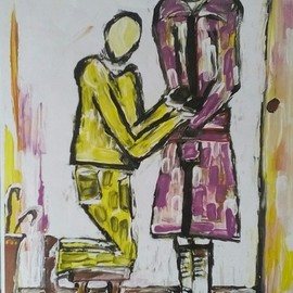 Tanya Martin: 'the groveller', 2018 Acrylic Painting, People. Artist Description: An art work depicting behaviour within some relation ships inclusive of dominent and submissive sugestions...