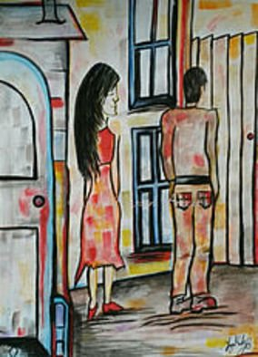 Tanya Martin: 'time to leave', 2018 Acrylic Painting, Romance. Artist Description: A painting that depicts a rather awkward moment ...