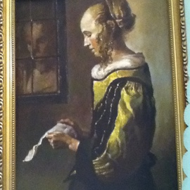 Tanya Balaeva: 'copy', 2009 Oil Painting, Portrait. Artist Description:                  0il on board, copy of fragment - Vermeer