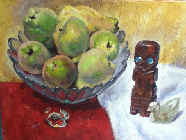 Tanya Balaeva  'Quinces And NZ God', created in 2009, Original Painting Oil.