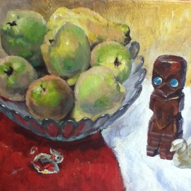 Tanya Balaeva: 'quinces and NZ god', 2009 Oil Painting, Still Life. Artist Description:   0il on canvas  ...
