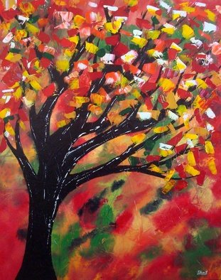 Tanya Hansen: 'red maple tree', 2017 Acrylic Painting, Abstract. Artist Description: Red Maple Tree -  Autumn Blaze  is among the best medium sized autumn color trees in the world with great autumn coloring with scarlet red in early autumn giving way to vivid orange red tones. The beauty of the Maple Leafs I showed using light impasto style, laid out ...