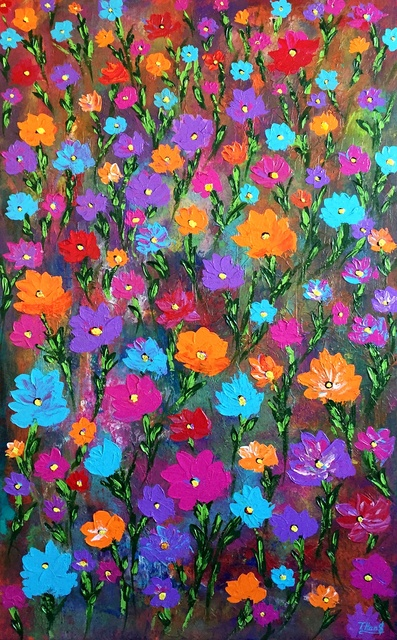 Tanya  Hansen  'Colorful Blossom', created in 2018, Original Painting Acrylic.