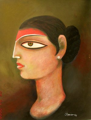 Tapan Kar: 'AGE SIXTEEN', 2004 Tempera Painting, Figurative. Artist Description:  The girl is in her age sixteen years. She has an innocent beauty. ...