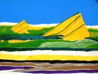 Tapan Kar: 'HILLSCAPE', 2006 Tempera Painting, Abstract Landscape.