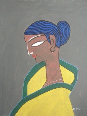Tapan Kar: 'KRISHNA1', 2012 Tempera Painting, Figurative. Artist Description:  The Girl is dark in her skin- color. She has wearied a Sharih. ...
