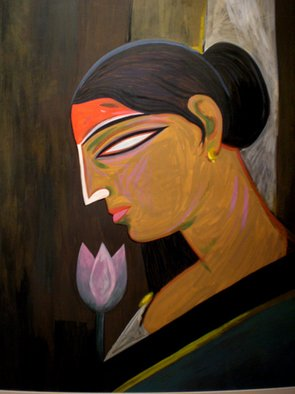 Tapan Kar: 'SHE I', 2008 Tempera Painting, Figurative. Artist Description:  Woman with divine power. The reddish tone on her forehead indicates this power. ...