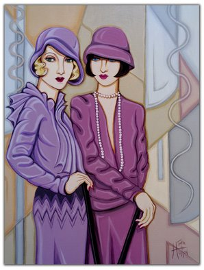Tara Hutton: 'Violet and Rose', 2016 Acrylic Painting, Figurative.  flappers, portrait, figurative, 1920s, art deco, geometric, pastel, violet, rose, gray, beige, taupe, mauve, two women, cloche hats, chemise dresses, bobbed hair, bee stung lips, glamour, feminine, woman cave, ...