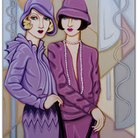Tara Hutton: 'Violet and Rose', 2016 Acrylic Painting, Figurative. Artist Description:  flappers, portrait, figurative, 1920s, art deco, geometric, pastel, violet, rose, gray, beige, taupe, mauve, two women, cloche hats, chemise dresses, bobbed hair, bee stung lips, glamour, feminine, woman cave, ...