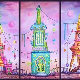 Viktoria Zhornik: 'Towers Triptych', 2014 Oil Painting, Surrealism. Artist Description:  architecture, landscape, tower, fantasy, space, sky, mountains, triptych, colorful, surreal, home, bright ...