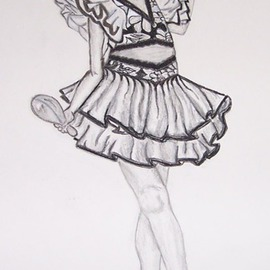 Marie Beckford Artwork Yazmyn, 2007 Charcoal Drawing, Dance