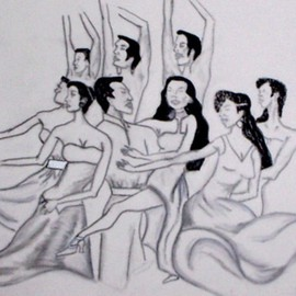 Marie Beckford Artwork dancers, 2007 Charcoal Drawing, Dance