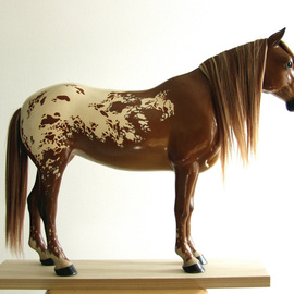 Mj Tarpan: 'Appaloosa', 2010 Wood Sculpture, Equine. Artist Description:       Carved in basswood ( pieces glued in special way for strength) .Artificial hair implants.Magnets keep it on the separate base ( can be removed and showed detached from base)Painted with artists oils for lifelike look. Protective resin based coat applied. Signature stamp on the base reading