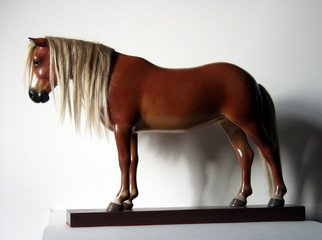 Mj Tarpan: 'Mustang', 2010 Wood Sculpture, Equine. Artist Description:    Carved in basswood ( pieces glued in special way for strength) .Artificial hair implants.Magnets keep it on the separate base ( can be removed and showed detached from base)Painted with artists oils for lifelike look. Protective resin based coat applied. Signature stamp on the base reading