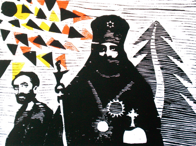 Tarrvi Laamann  'Kings Of Kingz', created in 2012, Original Printmaking Woodcut.