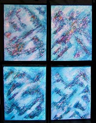 Tary Socha: 'Alpine Snowfall', 2005 Acrylic Painting, Abstract. This four- plex set on canvas is my impression of mountain slopes during a misty snowfall. They were created with flexibilty in mind. Exhibit this eithr as shown here or in a line. The order of each panel is numbered on the back of each unit....