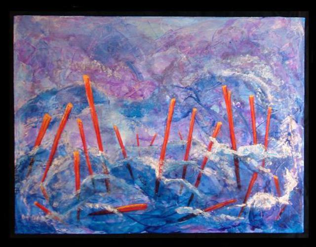 Artist Tary Socha. 'Floating Poles' Artwork Image, Created in 2005, Original Painting Other. #art #artist